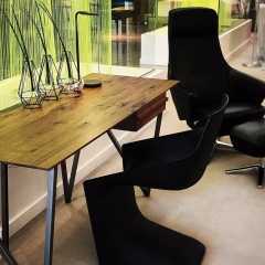 Office desk with black swivel chair handmade in Canada by Verbois