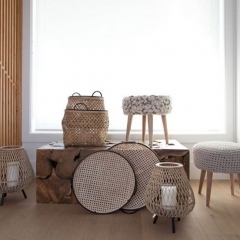 Woven baskets and lanterns for scandinavian style or contemporary style living room decor