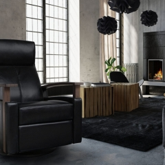 Dutalier modern black leather swivel armchair handcrafted in Canada