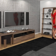 Contemporary solid wood TV stand with tinted glass doors handmade in Canada by Verbois