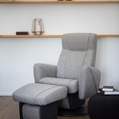 Dutalier modern glider armchair made of grey upholstery with matching gliding ottoman handcrafted in Canada